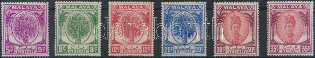 Kedah 1950 6 db forgalmi érték Mi 65, 68, 70, 73, 75, 76