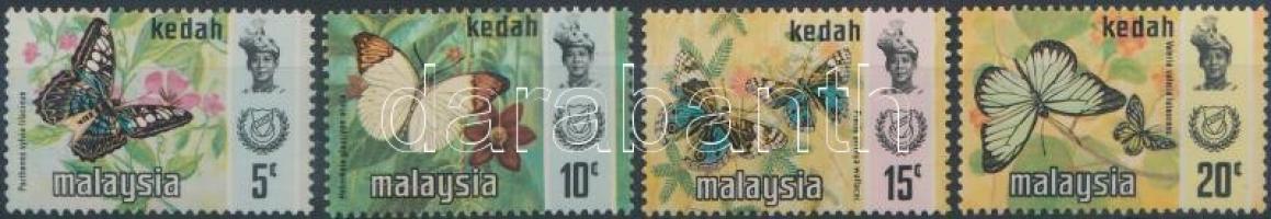 Kedah 1971 Lepkék 4 érték Mi 115, 117-119 II (Mi 114 II hiányzik)