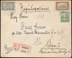 1918.07.05. Légi levél Bécsbe 1K50f Repülő posta bélyeggel + 2,05K díjkiegészítéssel / Airmail cover to Vienna with Mi 210 + 2,05K additional franking