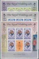 1981 Károly herceg és Lady Diana esküvője (II.) kisív sor Mi 639-641