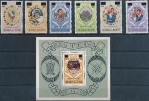 Prince Charles and Lady Diana overprinted set + block, Károly herceg és Lady Diana sor felülnyomással + blokk