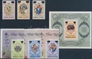 Prince Charles and Lady Diana's wedding overprinted set + block, Károly herceg és Lady Diana sor felülnyomással + blokk