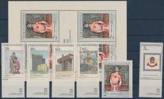 The new Prague set + minisheet, Az új Prága sor (közte szelvényes bélyegek) + kisív