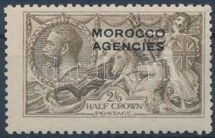 Brit posta Marokkóban 1914 V. György király felülnyomott bélyeg Mi 52