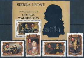 George Washington set + block, George Washington születésének 250. évfordulója sor+ blokk