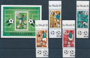 Football World Cup, Spain margin overprinted set + block, Labdarúgó VB, Spanyolország ívszéli sor felülnyomással + blokk