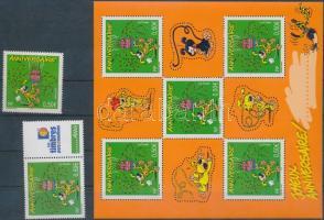 Greeting stamp + coupon stamp + minisheet, Üdvözlőbélyegek bélyeg + szelvényes bélyeg + kisív