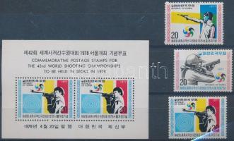 1977 Nemzetközi lövőbajnokság sor Mi 1106-1108 + blokk Mi 425