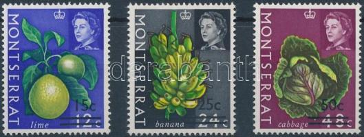 1968 Gyümölcsök és zöldségek sor felülnyomással Mi 192-194 Y