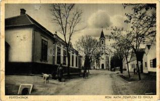 Fertőhomok, Római katolikus templom és iskola (kis szakadás / small tear)