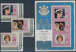 1982 Diana hercegnő ívsarki sor Mi 456-458 + blokk Mi 56