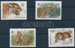1993 WWF Szibériai tigris sor + 4 FDC Mi 343-346