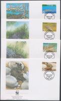 WWF Crocodiles block of 4 + 4 FDC, WWF Krokodilok négyestömb + 4 FDC