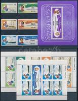 1981 Károly herceg és Diana hercegnő sor, kisívsor, bélyegfüzet Mi 60-65 + blokk Mi 1 + 3 db FDC