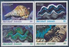 1986 WWF tengeri kagylók és csigák négyestömb + 4 FDC Mi 73-76