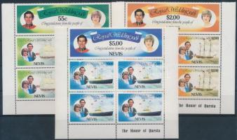 1981 Károly herceg és Diana hercegnő értékek 3 db ötöstömbben Mi 60-65