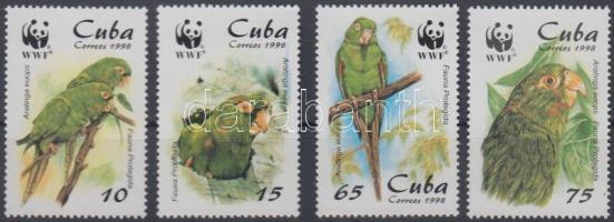 WWF parrot set + 4 FDC, WWF papagáj sor + 4 FDC