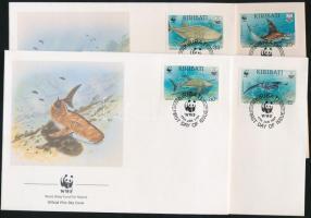 WWF Marine animals set on 4 FDC, WWF Tengeri élőlények sor 4 FDC
