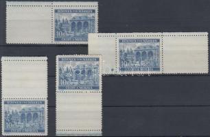 Böhmen und Mähren 1940 10K 2 klf vízszintes és 2 klf függőleges ívszéli üresmezős bélyeg az egyik 1 csillaggal Mi 60