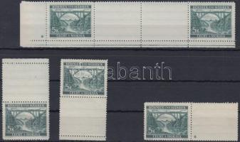Böhmen und Mähren 1940 5K ívsarki vízszintes 2 üresmezős pár 1 csillaggal + 2 klf függőleges ívszéli üresmezős bélyeg + 1 vízszintes üresmezős bélyeg 1 csillaggal Mi 57a