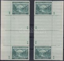 Böhmen und Mähren 1940 5K jobb és bal oldali ívszéli függőleges 2 üresmezős pár 8-8 csillaggal Mi 57b