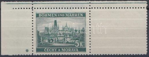 Böhmen und Mähren 1939 5K ívsarki vízszintes üresmezős bélyeg 1 csillaggal Mi 35