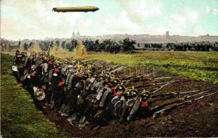 WWI German infantry, trench warfare, airship, I. világháborús német gyalogság, árokharc, léghajó