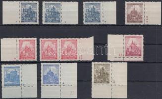 Böhmen und Mähren 1939-1941 11 db ívszéli bélyeg csillaggal vagy számmal az ívszélen