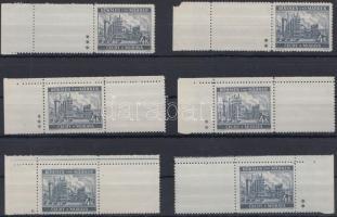 Böhmen und Mähren 1939 4K 6 db ívszéli/ívsarki vízszintes üresmezős bélyeg 1, 2 vagy 3 csillaggal Mi 34b LW