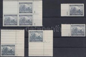 Böhmen und Mähren 1939 4K 2 db ívsarki függőleges üresmezős bélyeg 1 csillaggal + 2 ívszéli bélyeg 2 és 3 csillaggal + ívsarki négyestömb 1 üresmezővel 2x2 csillaggal Mi 34b