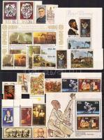 22 stamps with sets and margin stamps + 3 block, 22 db bélyeg, közte teljes sorok és ívszéli értékek + 3 db blokk