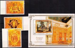 2004 A Katalin-palota Borostyán-szobájának restaurálása dombornyomott ívszéli sor Mi 1177-1179 + dombornyomott blokk 69