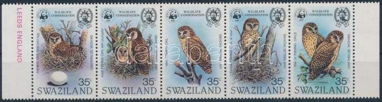 1982 WWF Afrikai halászbagoly ívszéli sor 5-ös csíkban Mi 398-402