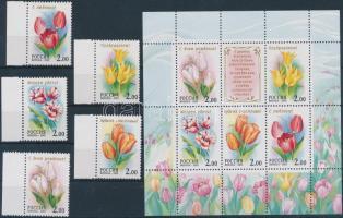 2001 Üdvözlőbélyegek: Tulipánok ívszéli sor Mi 889-893 + blokk 36