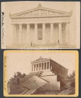 cca 1880 Németország, Walhalla, a hírnév temploma, 2 db feliratozott vizitkártya méretű keményhátú fénykép, 6x10 cm