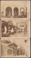 1878 Párizsi Világkiállítás olasz, svájci és orosz pavilonja, 3 db feliratozott vizitkártya méretű keményhátú fénykép, 6x10 cm