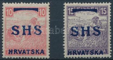 SHS 1918 Fehérszámú arató 10f, 15f (472.000) / Yugoslavia Mi 59-60 Signed Bodor