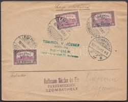 "Complete airmail set on airmail cover ""SZOMBATHELY"" - Budapest, Légi posta teljes sor légi levélen ""SZOMBATHELY"" - Budapest"