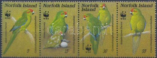 1987 WWF papagájok négyescsík Mi 421-424