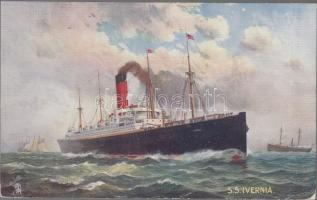 """S.S. Ivernia Celebrated Liners - """"The Cunard"""" Raphael Tuck & Sons 'Oilette' Postcard 9106., S.S. Ivernia óceánjáró hajó, Raphael Tuck & Sons 'Oilette' Postcard 9106."""