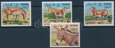 WWF wild donkeys set + 4 FDC, WWF Vadszamarak sor + 4 FDC