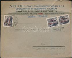 1946 (15. díjszabás) Távolsági levél levelezőlapként feladva Betűs (III) 3xTávolsági levél/18f bérmentesítéssel
