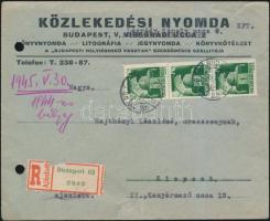 1945 (1. díjszabás) Távolsági ajánlott levél Hadvezérek 3x1P bérmentesítéssel (sérült boríték)
