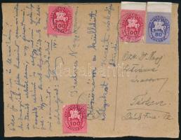 1946 (14. díjszabás) Távolsági szükség levelezőlap díjszabás első napján feladva a 13.díjszabás szerint bérmentesítve Lovasfutár 80eP + 3x100eP