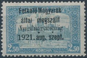 Nyugat-Magyarország I. 1921 Parlament 2,50K hármaslyukasztással (45.000) / Mi 9 with 3-hole punching. Signed: Bodor