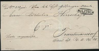 1838 Portós levél / unpaid cover HOLITSCH - Trautmansdorf