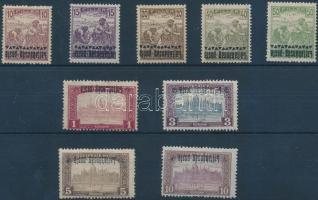 Nyugat-Magyarország III. 1921 9 klf érték fordított felülnyomással / 9 stamps with inverted overprint. Signed: Bodor
