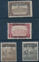 Nyugat-Magyarország III. 1921 4 klf érték fordított felülnyomással közte 1 kettős felülnyomás/ 4 stamps with inverted overprint, 1 double. Signed: Bodor