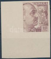 1939 Franco tábornok ívsarki vágott bélyeg Mi 842 U