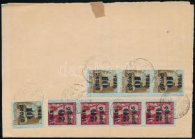 1945 (5. díjszabás) Távolsági levél Kisegítő II. 4x10P/80f + 4xx20P/30f bérmentesítéssel